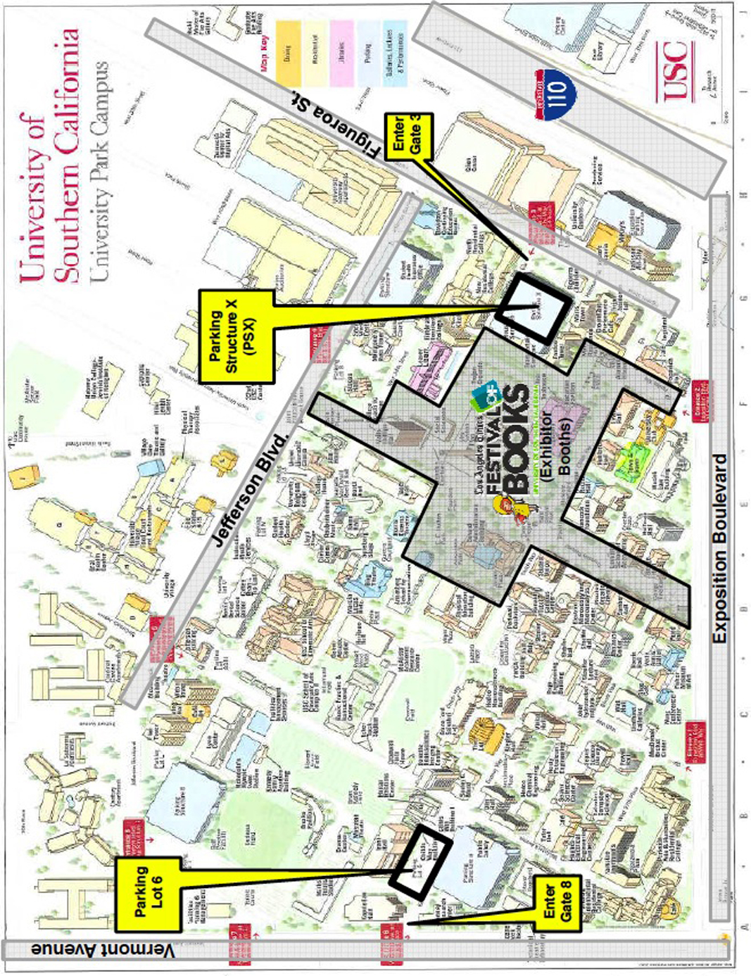 glaws  the los angeles times festival of books map - usc entire campus line art showing parking Â«Â«