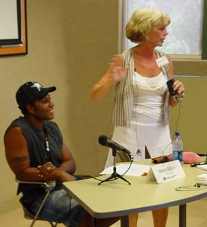 Marla Miller with Ace Antonio Hall at the Greater Los Angeles Writers Society
