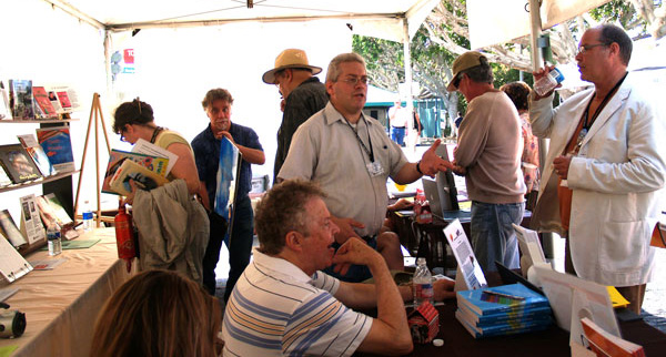 The Greater Los Angeles Writers Society had a  crowded booth at the West Hollywood Book Fair